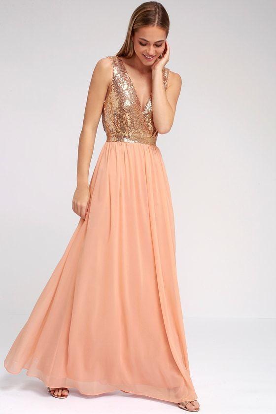 54348f0a020 Elegant Encounter Rose Gold Sequin Maxi Dress. Buy on Lulus