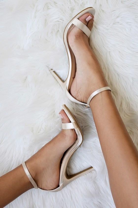 Loveliness Blush Satin Ankle Strap
