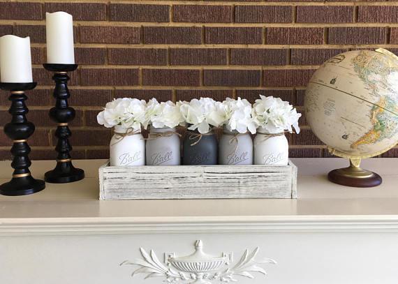 Mason Jar Centerpiece Rustic Home Decor Farmhouse Decor Farmhouse Table Centerpiece Painted Mason Jars Mason Jar Gifts Rustic Mantle Giftibly Giftibly