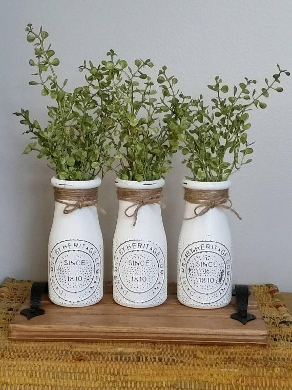 Farmhouse Table Decor Coffee Centerpiece Rustic Milk Bottles With Tray New Home Gift Country Kitchen