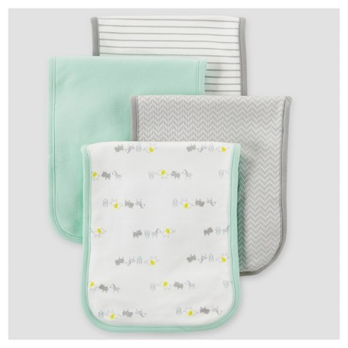 Baby 4pk Burp Cloth Set Just One You Made By Carter S Mint Animals
