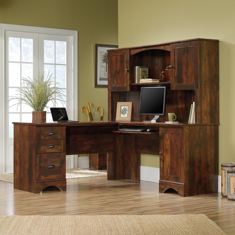 Pinellas L Shape Computer Desk With Hutch Giftibly