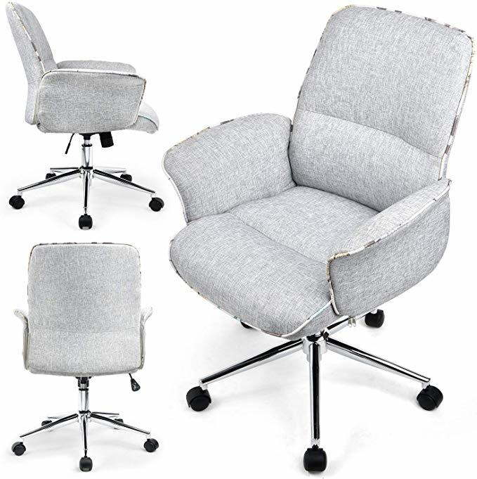 Comhoma Home Office Desk Chair Modern Fabric Upholstered Classic Adjustable Mid Back Ergonomic Executive Conference Chair Gray Bifma Certified Giftibly